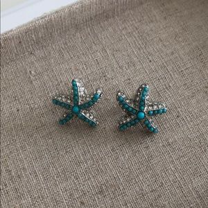 Stella & Dot Turquoise and Silver Earrings